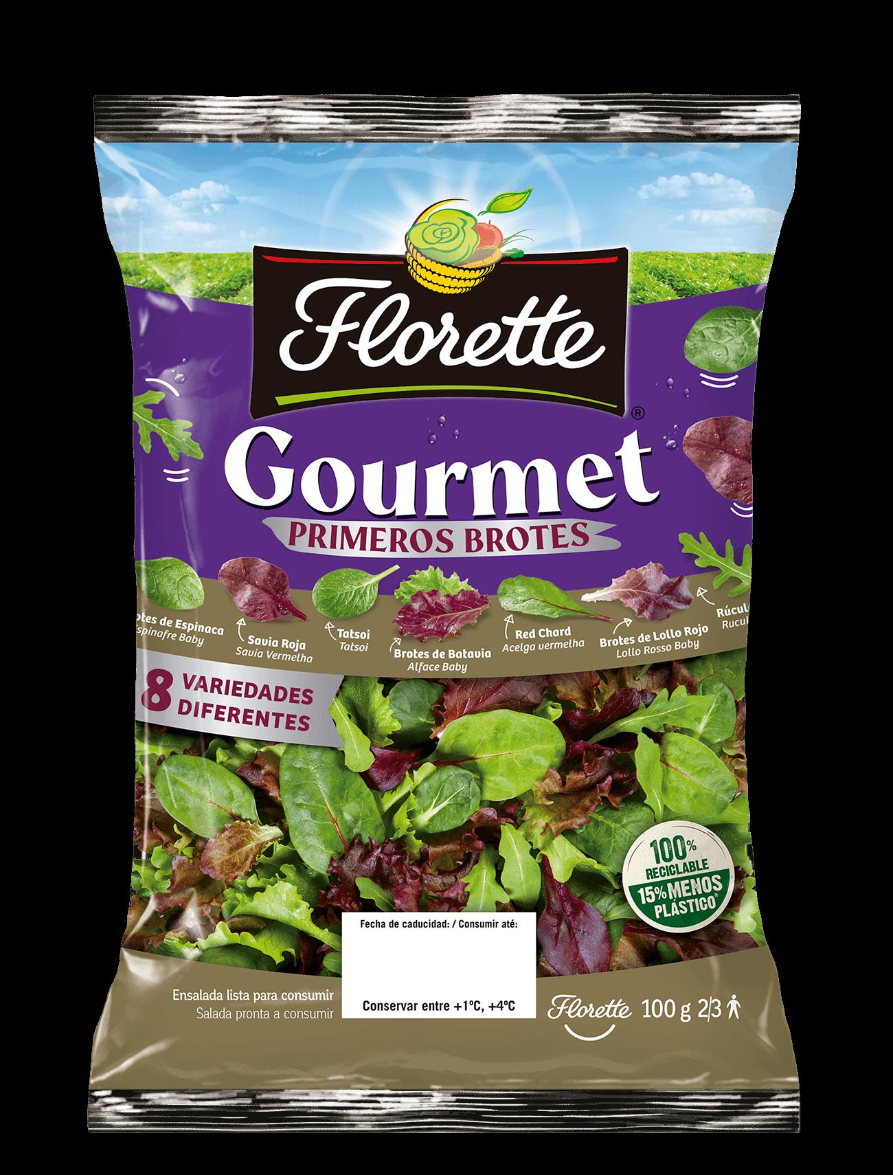 Bolsa de ensalada gourmet con primeros brotes de lollo rojo, rucula, red chard, savia roja, espinaca, tatsoi, batavia roja, y batavia verde.