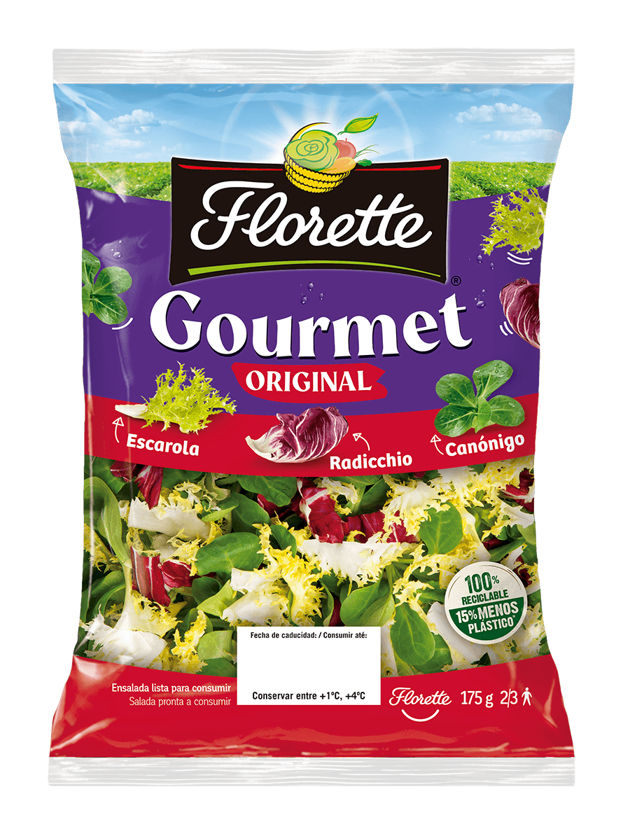 Bolsa de ensalada gourmet con mezcla escalora rizada, radicchio y canónigo verde.