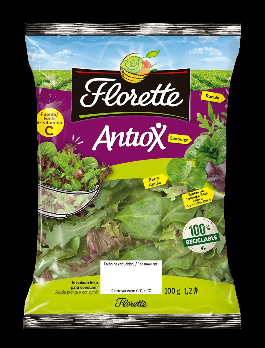 Bolsa de ensalada antioxidante con canónigo verde, brote de rúcula, brote de lollo rojo y berro.