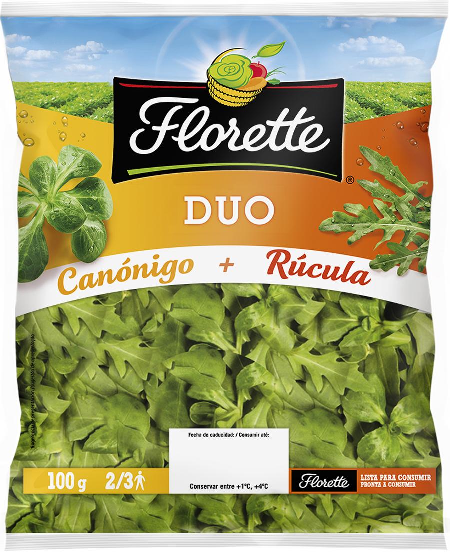 Bolsa de ensalada con canónigo verde y brotes de rúcula.