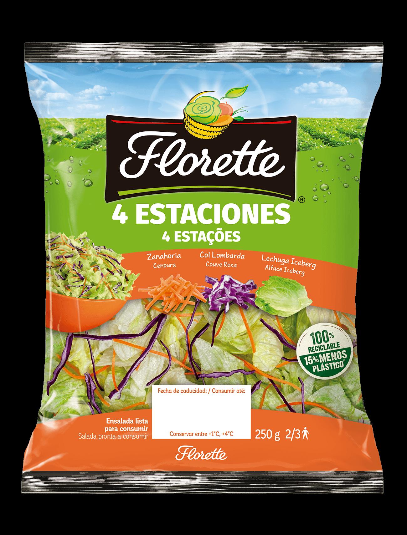 Bolsa de ensalada 4 estaciones con mezcla de lechuga iceberg, zanahoria y col lombarda.