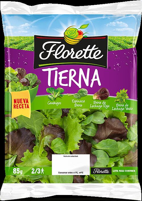 Bolsa de ensalada con mezcla de canonigo verde, brotes de espinaca, brotes de lechuga roja y brotes de lechuga verde.