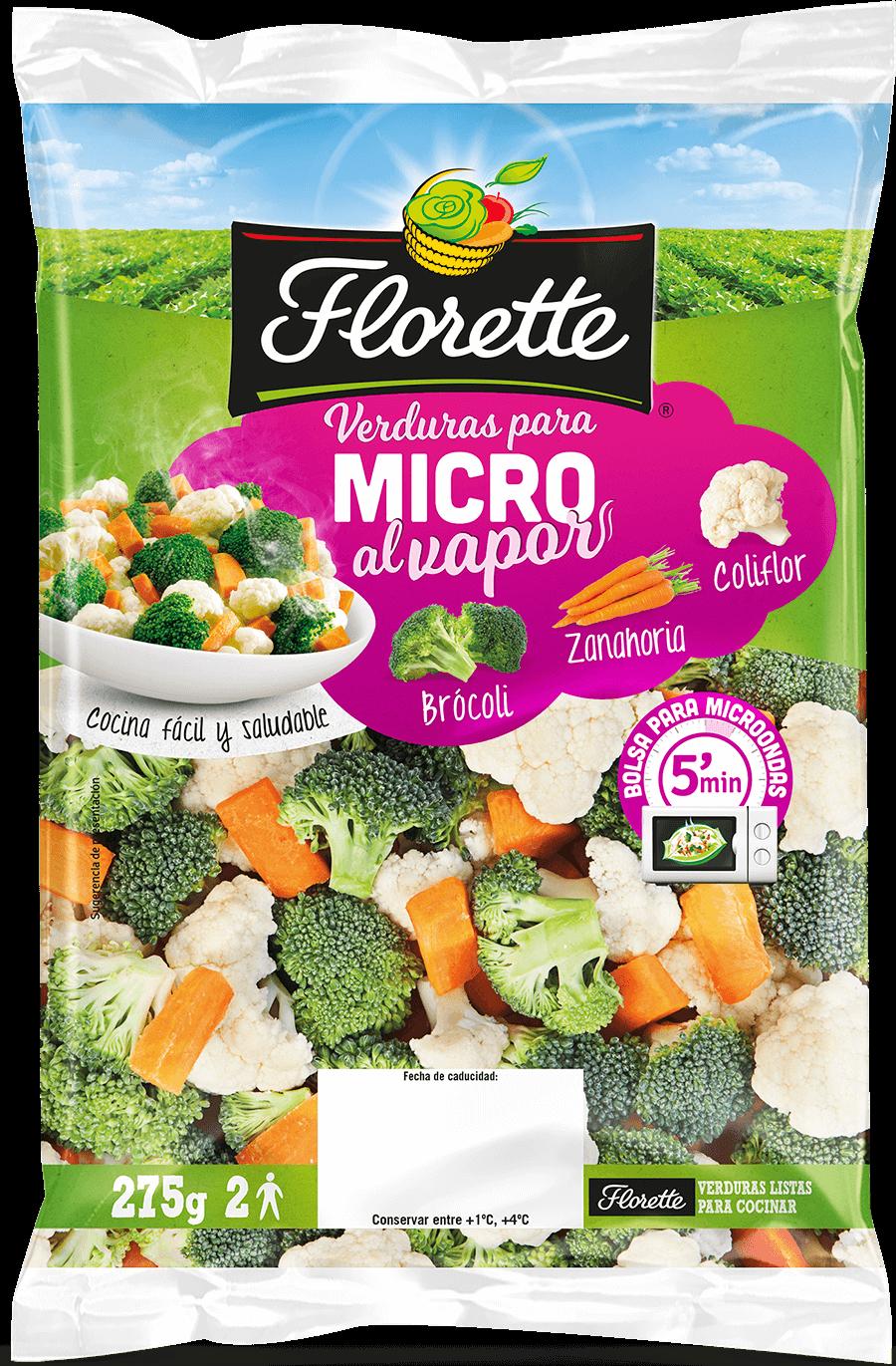 Bolsa de ensalada para microondas con zanahoria, brócoli y coliflor
