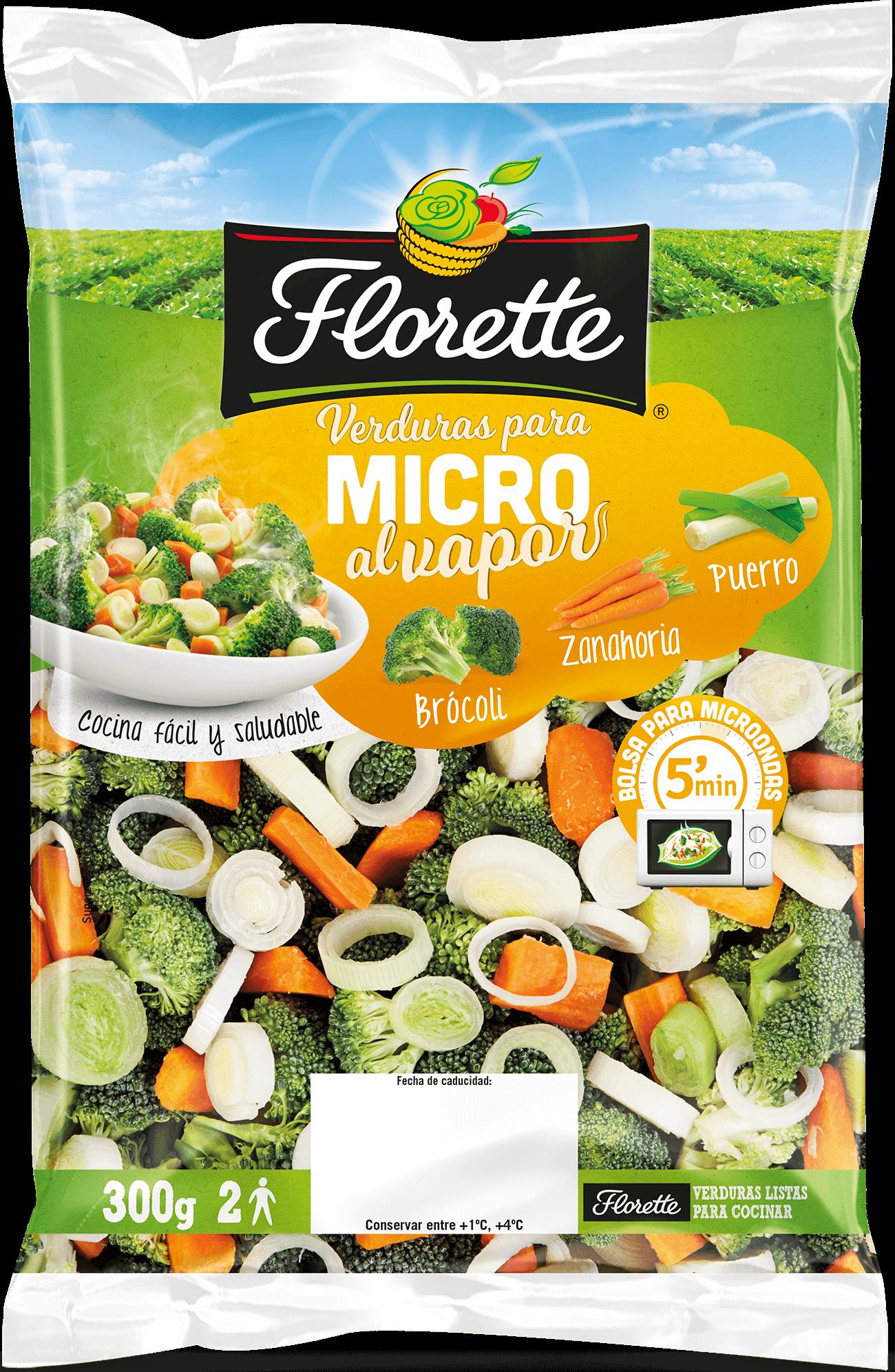 Bolsa de verduras para el microondas con brócoli, zanahoria y puerro