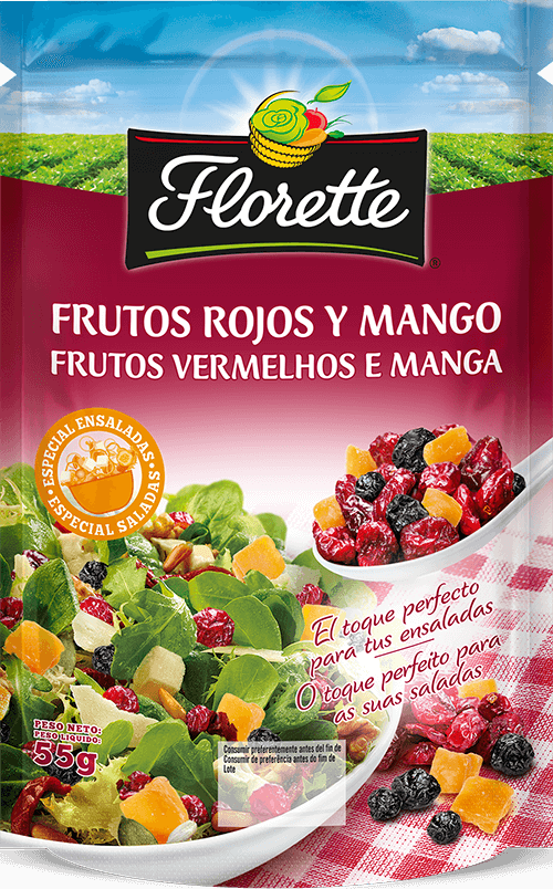Bolsa de frutos secos con arándanos rojos desecados, arándanos zules desecados y mango