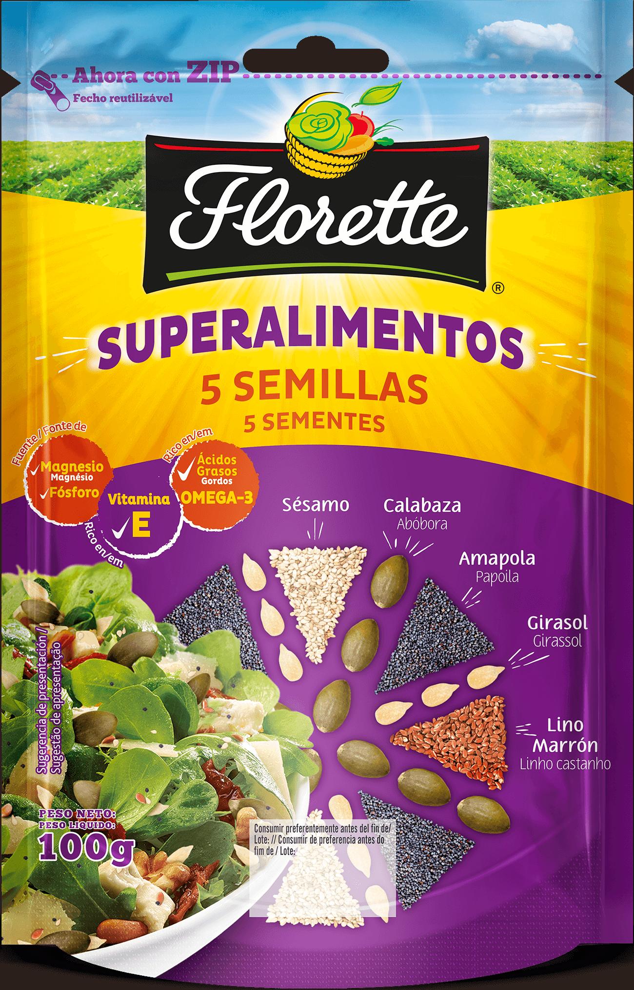 Bolsa de superalimentos con semillas de girasol, semillas de lino marrón, semillas de amapola, pipas de calabaza y semillas de sésamo