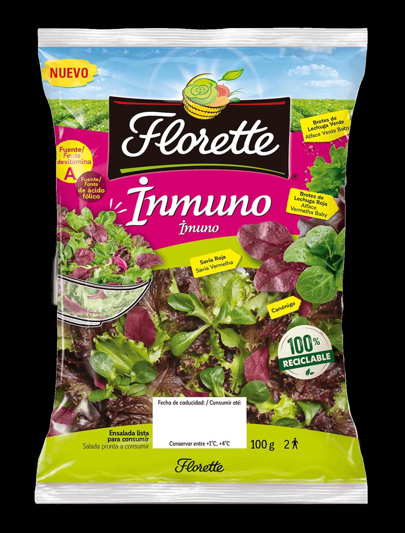 Bolsa de ensalada inmuno de primeros brotes con savia roja, canónigo verde, lollo verde y lollo rojo.