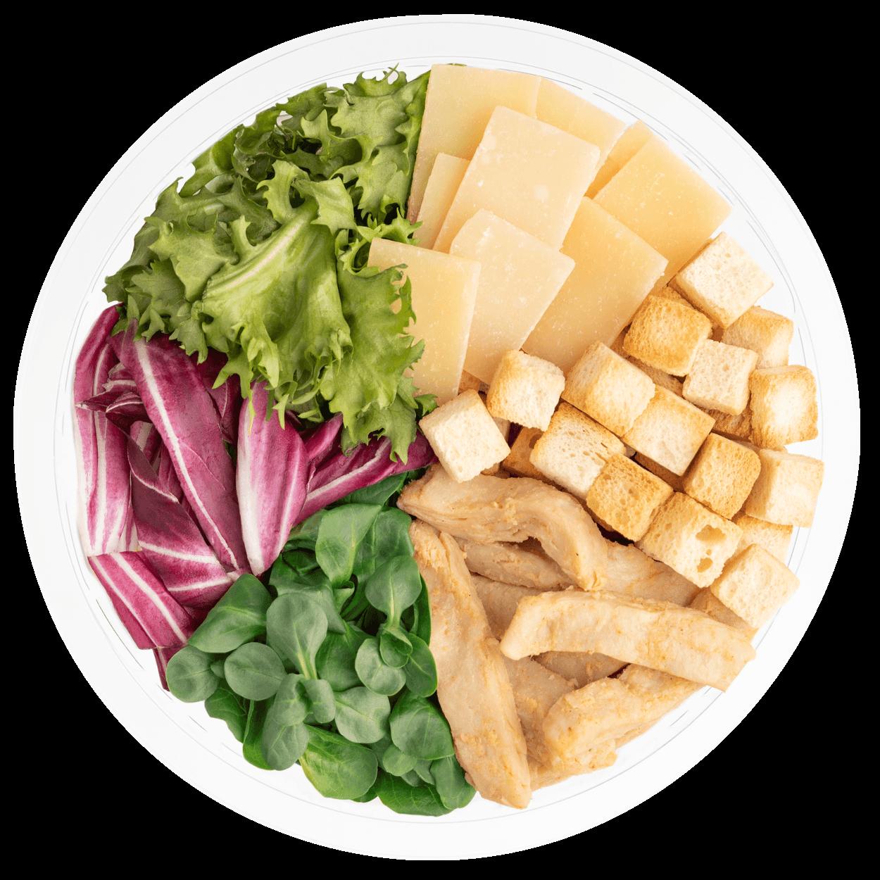 Ensalada completa césar vegetariana con queso curado, proteína vegetal, salsa césar vegetariana, picatostes originales, canónigo verde, escarola rizada y radicchio